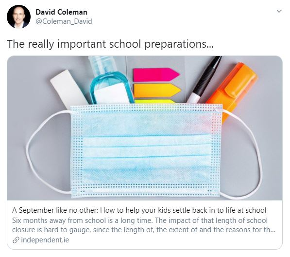 Help your kids settle back in to life at school Independent.ie – David Coleman