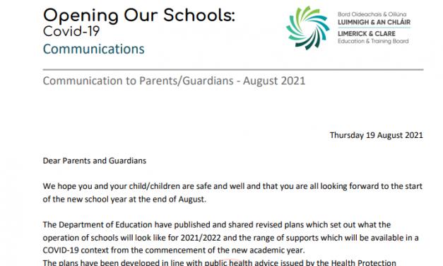 Communication to Parents – August 2021
